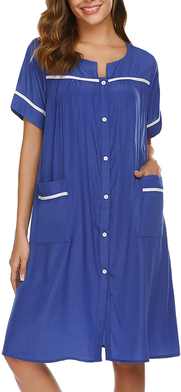 luxilooks House Dresses for Elderly Women Button Down Housecoats Short Sleeve Dusters S-XXL