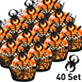 40 Sets Cupcake Wrappers Bake Cake Paper Cups and Plastic Rings Toy Rings Decorate Cake Decorative Accessories for Halloween Party (Spider Web, Black Spider Ring)