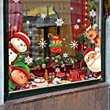 XIMISHOP 82PCS Christmas Snowflake Window Clings Stickers for Glass, Xmas Decals Decorations Holiday Snowflake Santa Claus Reindeer Decals for Party