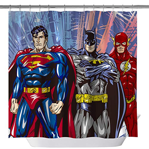Superman Batman Flash Classic Shower Curtain