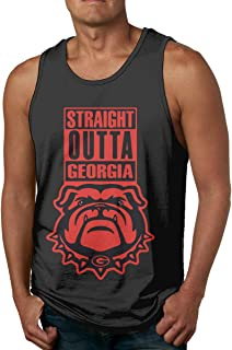 Georgia Bulldog Black Mens Workout Tank Top for Gym Regular-fit Sleeveless Jersey Tank