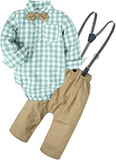 Big Elephant Baby Boys'2 Pieces Long Sleeve Plaid Shirt Suspender Casual Clothing Sets with Bowtie NA14