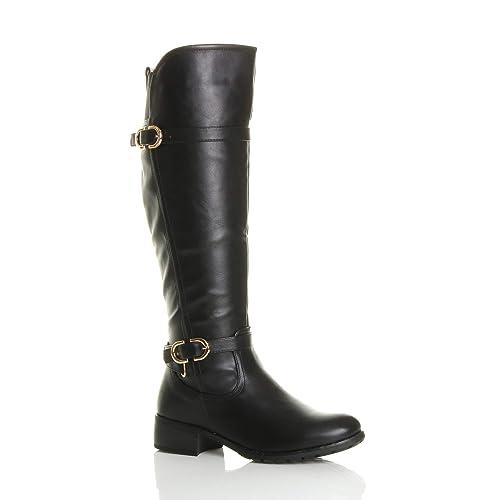 6a085ff6e0a Ajvani Womens ladies low heel flat stretch wide calf zip buckle strap  riding biker boots