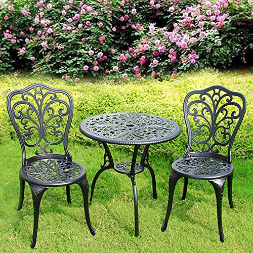 3 Piece Sand-cast Aluminium Garden Furniture Outdoor Bistro Dining Set, with 2 Chairs & Round Table, Durable Weather Resistant & Rust Free Patio Table Chairs (Vintage)