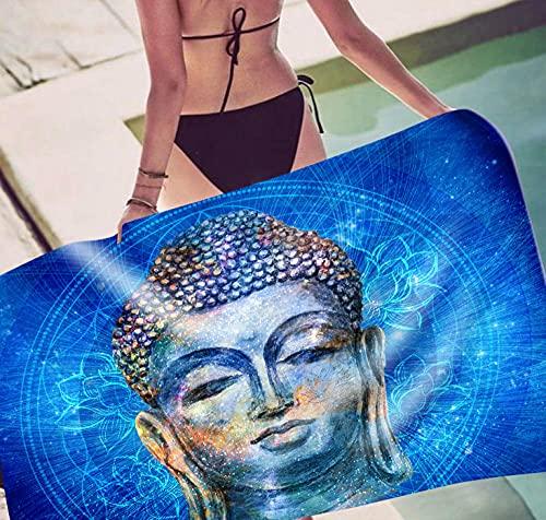 Toalla Playa Buda De Loto Azul Real Toallas Playa Grandes Blando Microfibr Antiarena Toallas de Playa Mujer Niña Toallas Baño Secado Rápido Toalla Piscina Delgado y Ligero Portátil 150x180cm