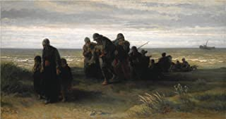 Oil Painting 'Jozef Israls Fishermen Carrying A Drowned Man ' Printing On Perfect Effect Canvas , 24 X 45 Inch / 61 X 115 Cm ,the Best Kitchen Decoration And Home Decoration And Gifts Is This High Definition Art Decorative Canvas Prints
