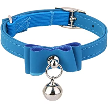 Newlly Adjustable Pet Kitten Cat Safety Collar Bell Buckle Neck (Blue)