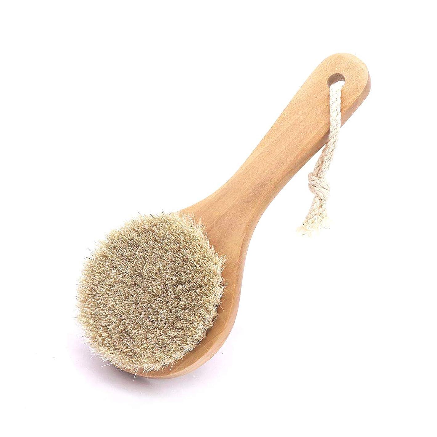 予定尋ねる動機馬毛ボディブラシ 木製 短柄 足を洗う お風呂用 体洗い 女性 角質除去 柔らかい 美肌