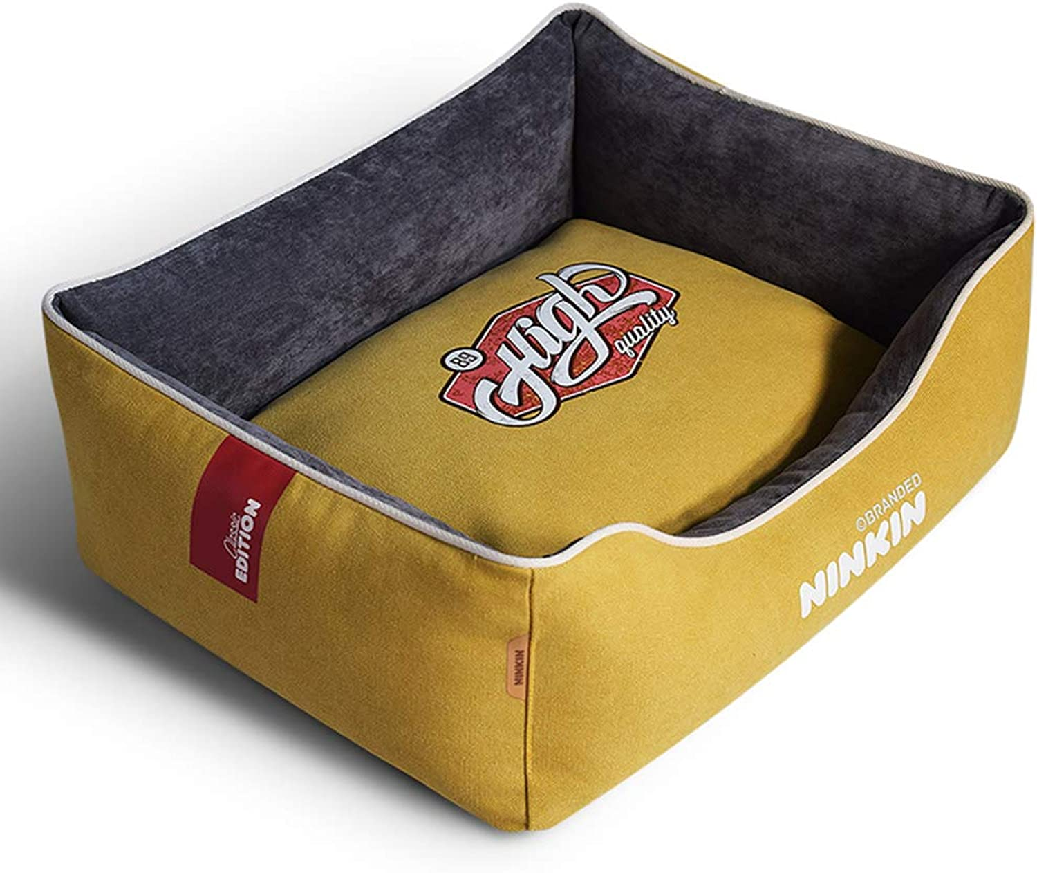 MEIHAO Soft Pet Bed, Cozy Dog Kennel Cotton Nest for Cats and Dogs, Removable Washable Cover, Thickened Washed Canvas, Small to Large, 3color Combinations,Yellow,M
