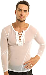 ACSUSS Men's Mesh Sheer See Through Tie-up Long Sleeve T Shirt Breathable Undershirts