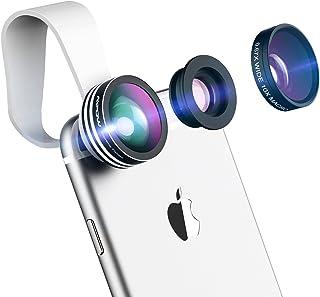 Mpow 3 en 1  Kit de lentes para teléfono y lente Lente Ojo de Pez de 180°0.65X Gran AngularLente Macro 10X  para Smartphone iPhone X/8/7/SE/6/6 Plus/5S/5C/4S Samsung Huawei Honor xiaomi etc