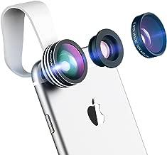 Mpow Universal 3 en 1 Kit de Lentille de caméra Objectifs professionnel fish-eye à 180° + 0.65X Objectif grand angle + 10X Objectif Micro pour iPhone 8/7/SE/6/6 Plus/5S/5C/4S, Samsung Galaxy S8/S7/S6/Note series, Huawei, Wiko et Plupart des Smartphones