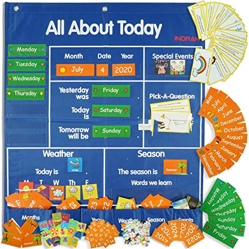 INDRAK 192 cards Classroom Pocket Chart School Calendar and Weather Pocket Chart Calendar Classroom with Daily Activities All about Today Activity Center, kids Calendar with Space Saver Pocket Charts