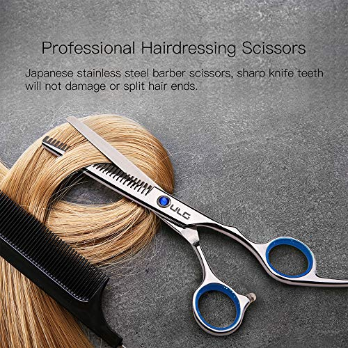 Hair Thinning Scissors Cutting Teeth Shears Professional Barber ULG Hairdressing Texturizing Salon Razor Edge Scissor Japanese Stainless Steel with Detachable Finger Ring 6.5 inch