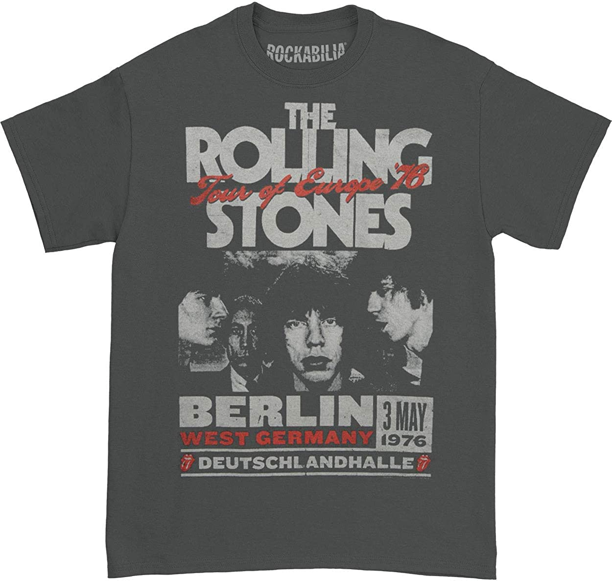 The Rolling Stones T-Shirt Mens /'73 Tour Of Europe 100/% Black Cotton Mick Jagger