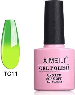 AIMEILI Soak Off UV LED Temperature Color Changing Chameleon Gel Nail Polish - Green To Lime (TC11) 10ml