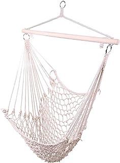 Kcelarec (US Stock) Rope Hammock Cradle Chair,Cotton Hanging Rope Swing Chair for Indoor Outdoor Bedroom Garden Yard Patio