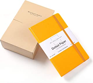 """3-Pack, Minimalism Art   Classic Notebook Journal, Size:5""""X8.3"""", A5, Yellow, Dotted Grid Page, 192 Pages, Hard Cover/Fine PU Leather, Inner Pocket, Quality Paper - 100gsm   Designed in San Francisco"""