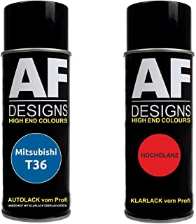 Autolack Spraydose Set für Mitsubishi T36 Reims Blue Basislack Klarlack Sprühdose 400ml