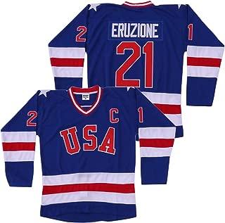 Mike Eruzione #21 1980 Miracle On Ice USA Hockey Jersey Blue