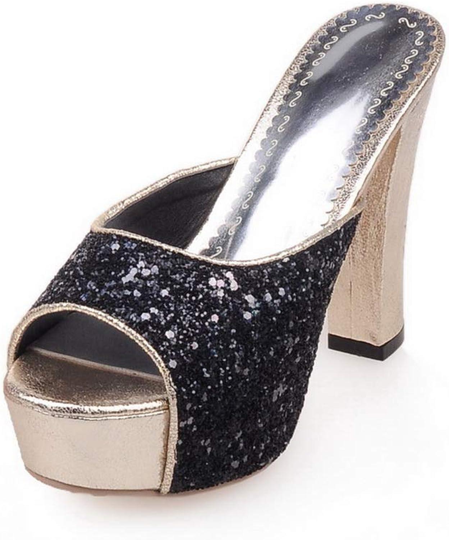 BalaMasa Womens Casual Platform Beaded Urethane Slides Sandals ASL05845