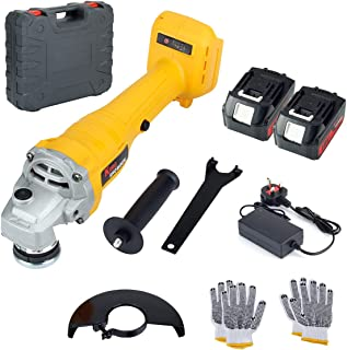 Angle Grinder with 2 Battery, KINGSHOWDEN 18V 125mm Cordless Angle Grinder, 5,000mAH Lithium Battery, 10,000 RPM Max Spee...