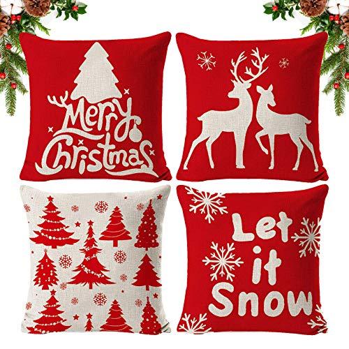 ASANMU Fundas de Almohada Navidad, 4PCS Fundas Navideñas para Cojines Almohadas de Navidad Decorativo Árbol de Navidad/Copo de Nieve/Reno Fundas Cojines de Navidad para Sofá Hogar Decor(45cm x 45cm)