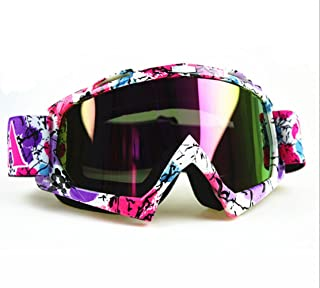 Sports Motocross ATV Dirt Bike Off Road Racing Goggles Eyewear White And Multi-color lens One Size Adjustable