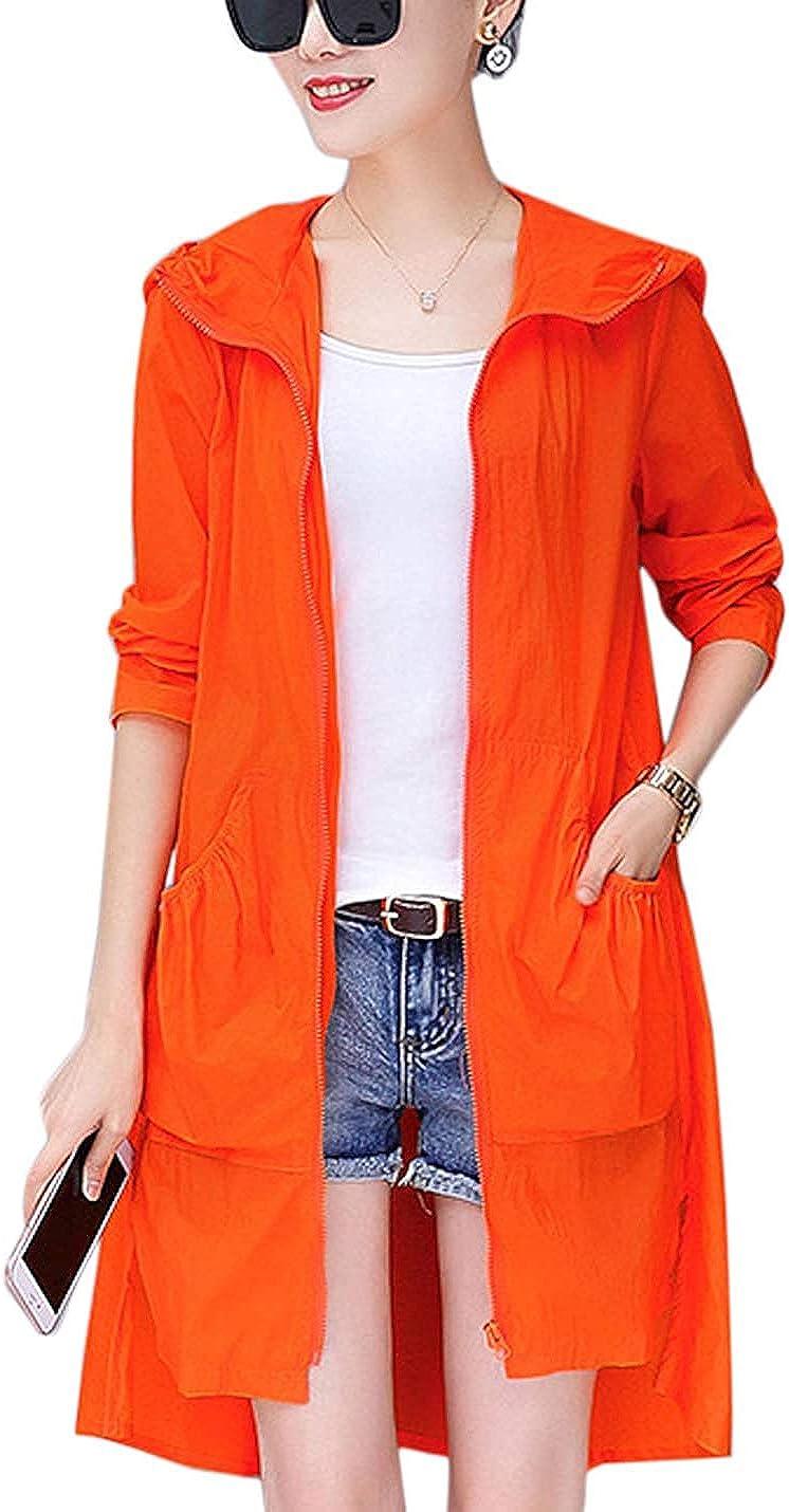PAODIKUAI Women's Lightweight Zip Up Windbreakers Sun Protection Long Outdoor Hooded Outwear Jacket