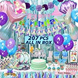 (207 PCS) Little Mermaid Party DecorationsMermaid Balloons for Girls, Banner & Tablecloth, Cutlery Sets & Plate, Mermaid Birthday Decorations, Satin Sash & Key Chain, Cakecpu & Blowouts Much More