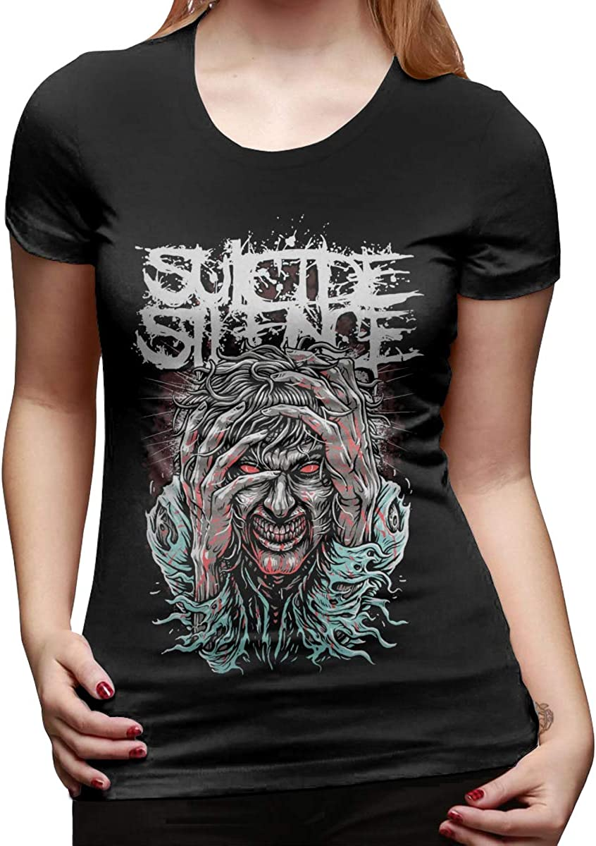 GeorgKmp Suicide Silence Womens Short-Sleeve Crew Neck T-Shirt Casual Graphic Tops T Shirts Black