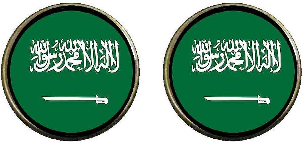 GiftJewelryShop Bronze Retro Style Saudi Arabia flag Photo Clip On Earrings 14mm Diameter