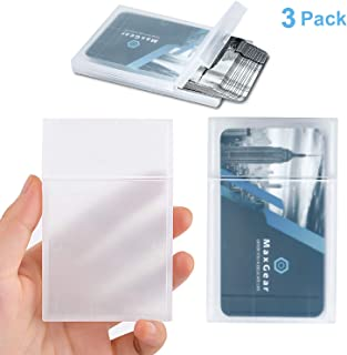 MaxGear Professional Plastic Business Card Holder Pocket Business Card Case Slim Business Card Wallet Business Card Carrier for Men & Women, Super Light, 3.9x2.5x0.4 inches, 3 Pack, PP Plastic, Clear