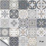 Adesivi per piastrelle da parete autoadesivi 24 pezzi Adesivi stile marocchino impermeabili per arredamento bagno cucina fai da te (24 pezzi, 20×20cm)