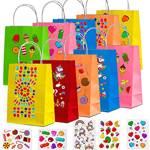 NIMU 24 Pieces Rainbow Colors Paper Bags With Handles DIY Do it Yourself 13 Sheets Unique Design Stickers All In One Pack Assorted Colorful 6 Colors Ideal For Party Favors Tea Party