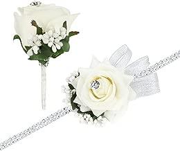 Rose Handgelenk Corsage Armband und Blume im Knopfloch Set Strass Band Blumen Hochzeit Prom Elfenbeinküste