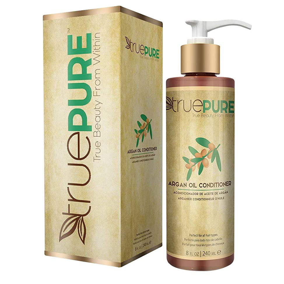 TruePure Argan Oil Conditioner - Deep Conditioning Hair Treatment For Men & Women With Dry, Damaged Hair - Fragrance Free & Sulfate Free Natural Hair Product, 8oz
