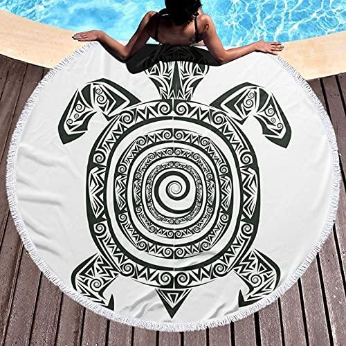 mit runder Quaste Hand Strandtuch,Maori Tattoo Style Figure Of Sea Animal Tribal Spiral Form Ancient Tropical, Yogamatte Tapisserie Tischdecke Picknick Stoff Schal 59 Zoll