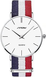 ToFuture Drive Travel Fashion Men/Women Unisex Stripe Nylon Band Quartz Watch 30M Waterproof Silver W1L