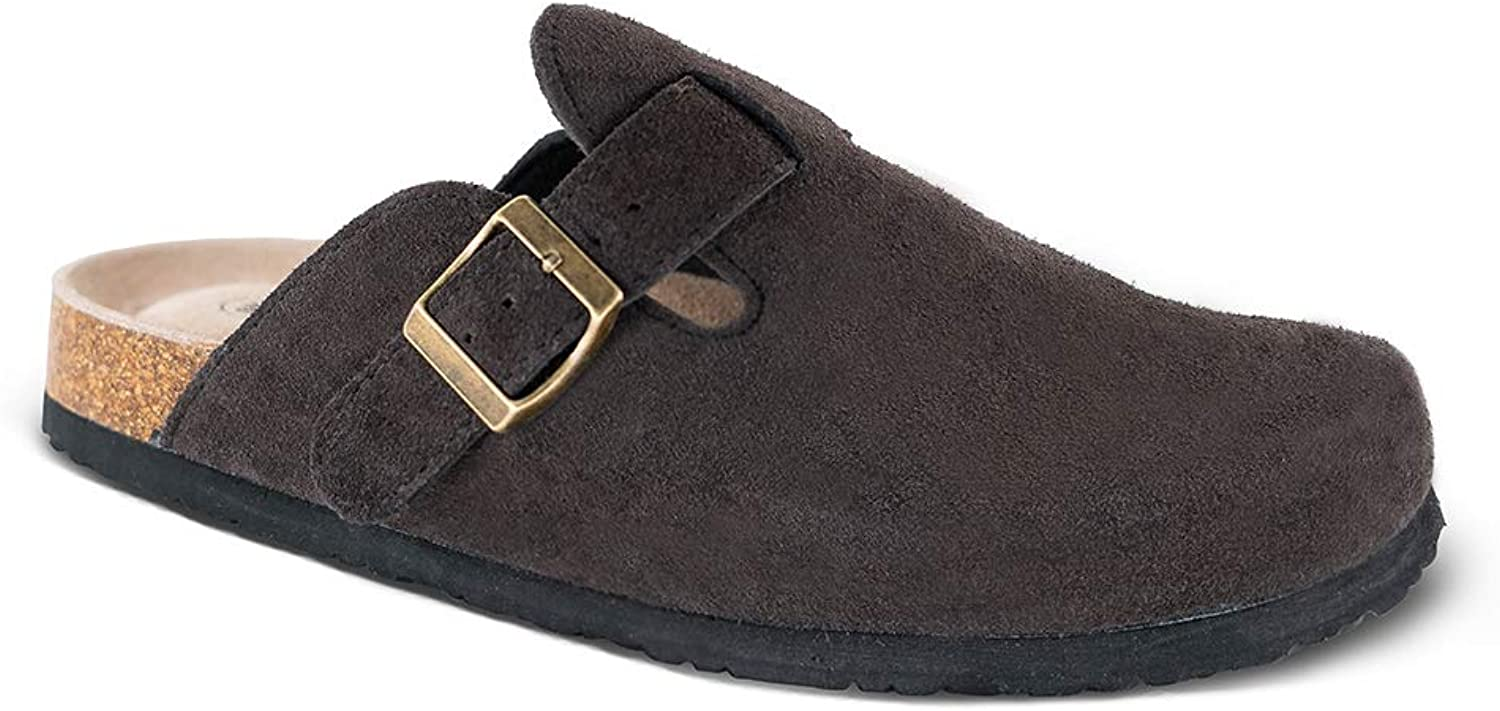 TF STAR Unisex Boston Soft Footbed Clog,Suede Leather Clogs, Cork Clogs shoes for Women Men,Antislip Sole Slippers