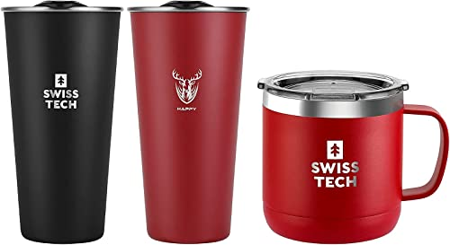 SWISS+TECH 14 oz Coffee Mug(Red)+ 16oz Stainless Steel Cups(Black&Red)