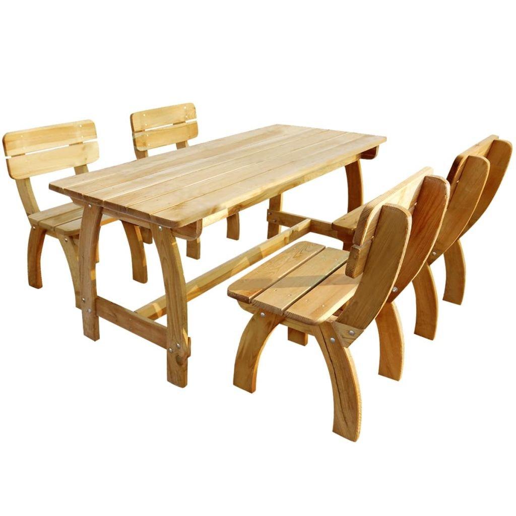 vidaXL Set de Muebles de Jardín de Material Madera de Pino Impregnada 5 Piezas: Amazon.es: Jardín