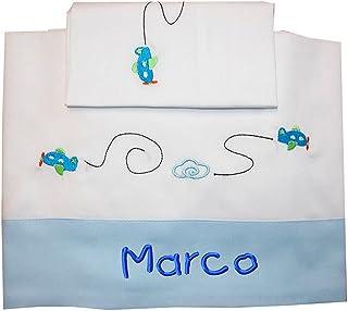 """ZIGOZAGO - Set per culla o lettino """"AEREI"""" in piquet di cotone in 3 pezzi con nome personalizzato. Federa, lenzuolo e copr..."""