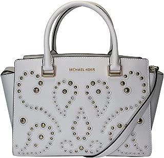 Studded Selma Medium Top Zip Leather Satchel Shoulder Bag in Optic White