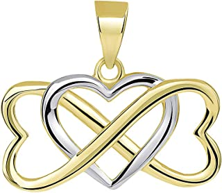 14k Yellow Gold Two Tone Interlocking Triple Heart Infinity Love Symbol Pendant