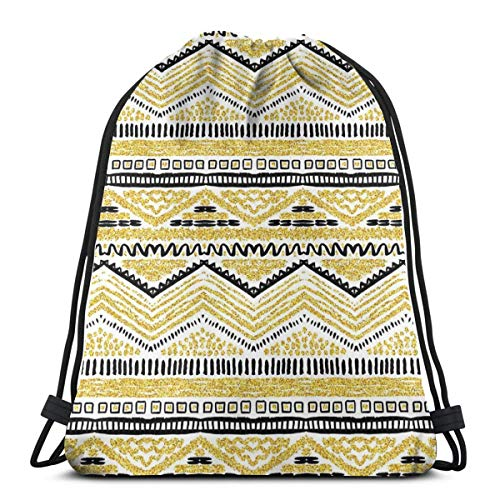 Drawstring Tote Bag Gym Bags Storage Backpack, Primitive Design met Zig Zag Lines Stripes Ethnic Chevron, zeer sterk Premium Quality Gym Bag voor volwassenen en kinderen