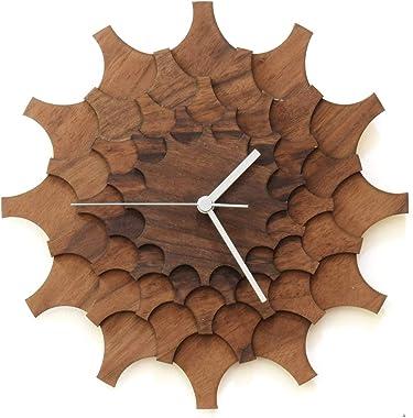 Cogwheel Walnut - 29cm Unique Stylish Handmade Wall Clock Made of Walnut Veneered Plywood, a Piece of Wall Art by ardeola
