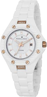 Herzog & Söhne HSV01-586 Women's Quartz Watch with White Dial Analogue Display and White Ceramic Bracelet HSV01-586