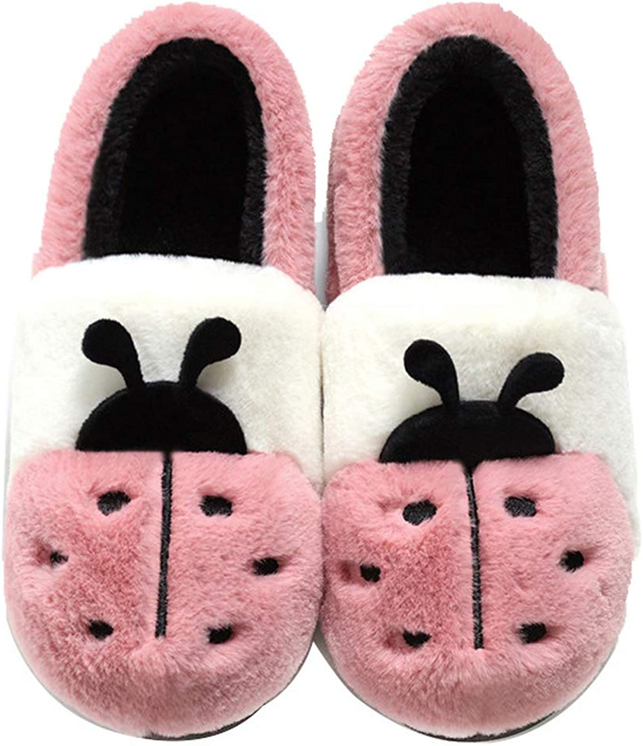 Womens Slippers Cute Cartoon Warm Home shoes Winter Mute Couple Cotton shoes
