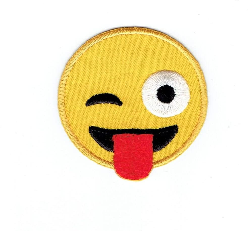 Genuine Smiley Face Emoji Winking with Tongue Embroidered - Long Beach Mall Iron on Patc